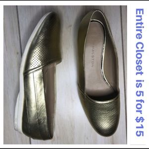 H by Halston Metallic Gold Loafers Casual Shoes